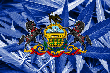 Pennsylvania State Flag on cannabis background. Drug policy.