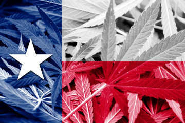 Texas State Flag on cannabis background. Drug policy.