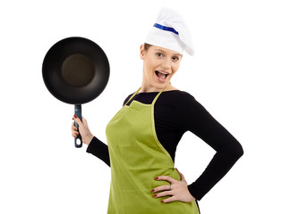 Woman chef holding a wok pan