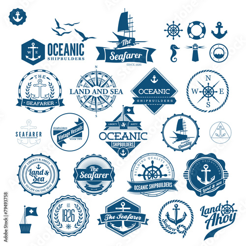 Set Of Vintage Retro Nautical Badges And Labels - 79493758