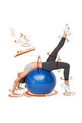 Composite image of fit young woman stretching on fitness ball
