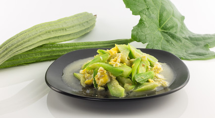 Dish of stir fried angled gourd with eggs