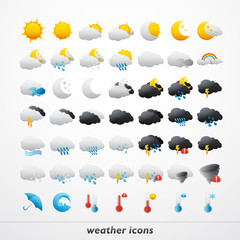 Set of 49 high quality vector weather icons