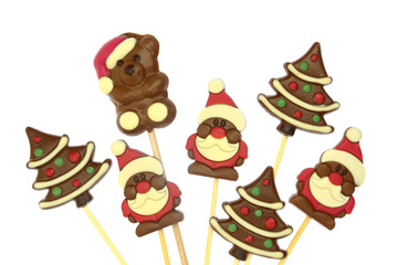 Festive Christmas chocolate confectionery on a stick