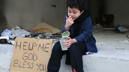 Sick child coughing while begging in Street