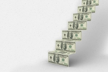 Composite image of steps of dollars