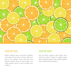 Vector fruit banner with orangers, limes and lemons