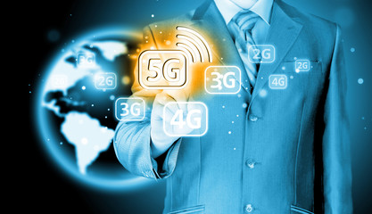 businessman touch 5G, technology background