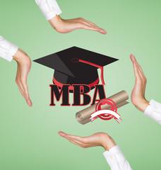 hands holding graduation cap