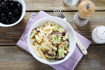Penne with broccoli and olives