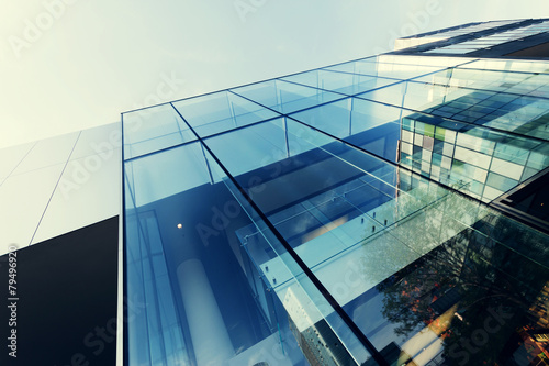 Poster modern office building exterior and glass wall