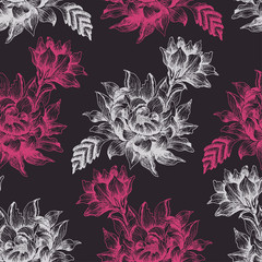 Seamless pattern with pink and white flowers on dark background