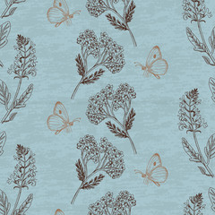 Vintage seamless pattern with herbs on a blue background