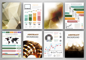 Vector infographic icons and brown backgrounds