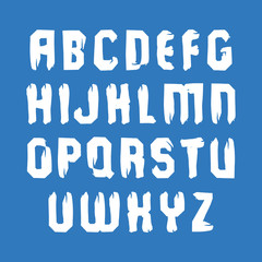 Handwritten vector white uppercase letters isolated on blue back