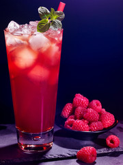 Red  raspberry cocktail  on dark background 6.