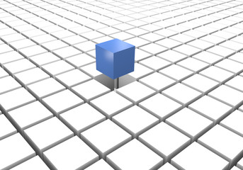 Blue different cube on a floor of white cubes