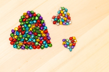 Colorful beads  in heart shaped
