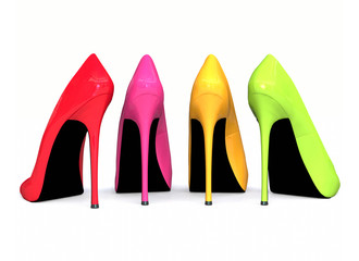 3D colourful high heels