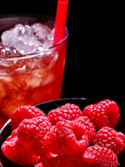 Red cocktail  on dark background.