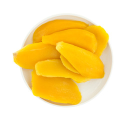 Canned mango slices in dish