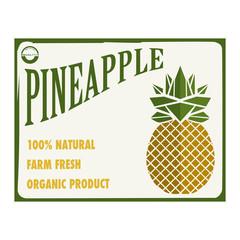 Etichetta alimentare con un grosso ananas