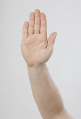 Hand zeigt Halt