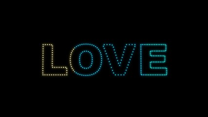 Set of 10 Love text LEDS reveals with alpha channel