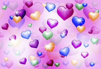 abstract background with shiny hearts