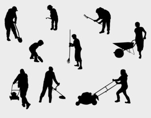 people working outdoors silhouettes