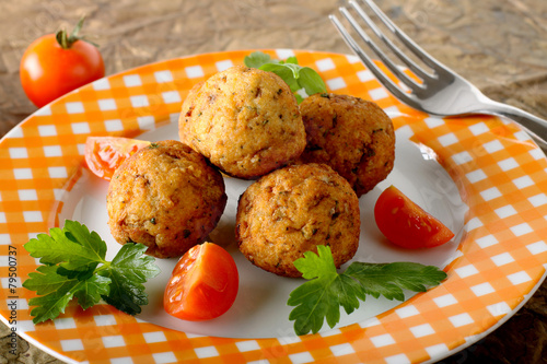 Deurstickers Vis Meatballs with fresh fish
