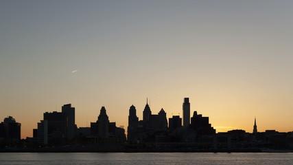 4K Time lapse Sunset Philadelphia Skyline