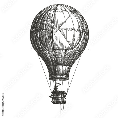 Hot Air Balloon vector logo design template. retro airship or - 79501175