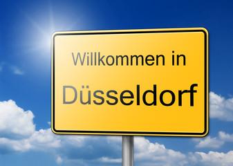Willkommen in Düsseldorf Schild Hintergrund