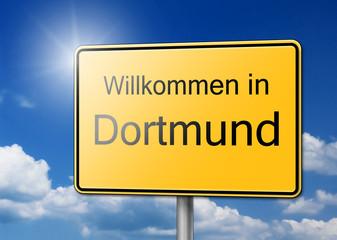 Willkommen in Dortmund Schild Hintergrund