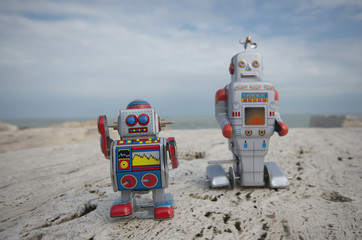 Tin toy robot buddies on the rocks