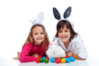 Happy kids with the easter bunny