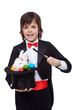 Young magician performing an easter trick