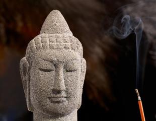 Buddha with burning incense