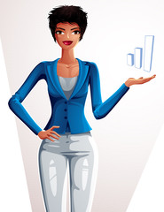 Attractive businesswoman full body portrait. Young female execut