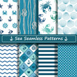 Set of sea seamless patterns