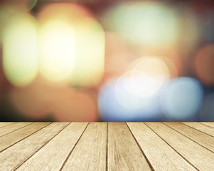 Wood perspective and blurred abstract background with bokeh