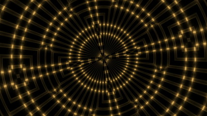 abstract loop motion background, gold kaleidoscope light