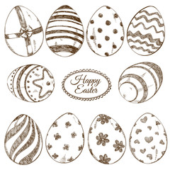 Set of sketch Easter eggs icons