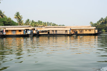 Traditional Indian houseboat cruising near Alleppey