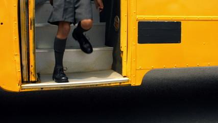 Cute schoolchildren getting off the school bus