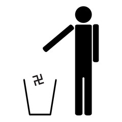 man throws in the trash Nazi swastika