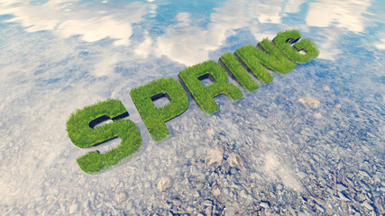 Spring text made from fresh grass among a water stream 4
