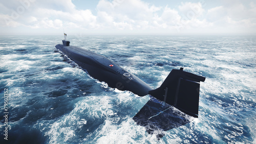 Leinwanddruck Bild Russian Borei class submarine at the northern water 2