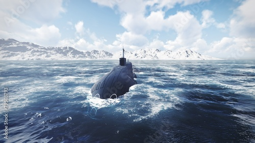Leinwanddruck Bild Russian nuclear-powered submarine front view 2